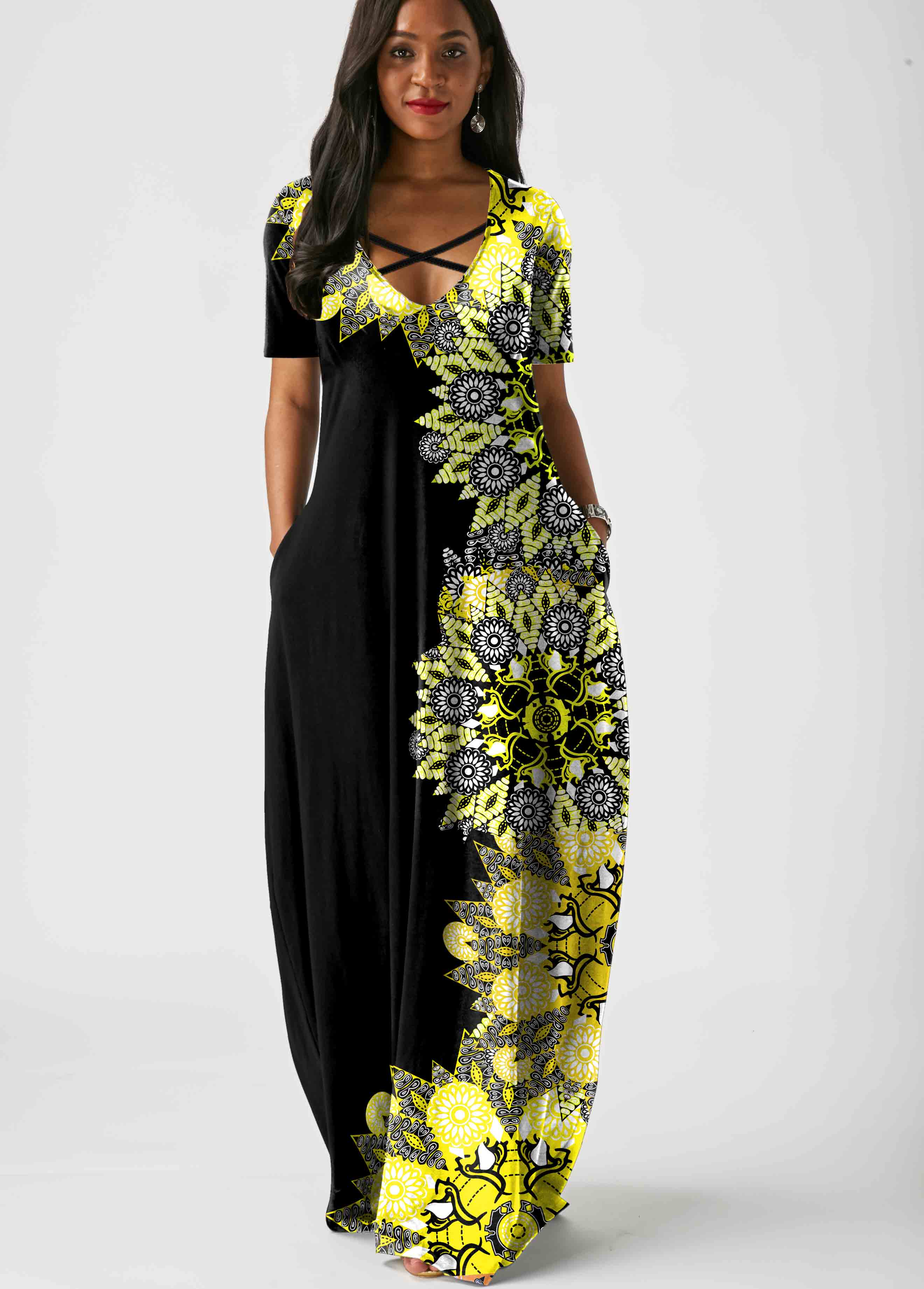 ROTITA Printed Cross Strap Side Pocket Maxi Dress