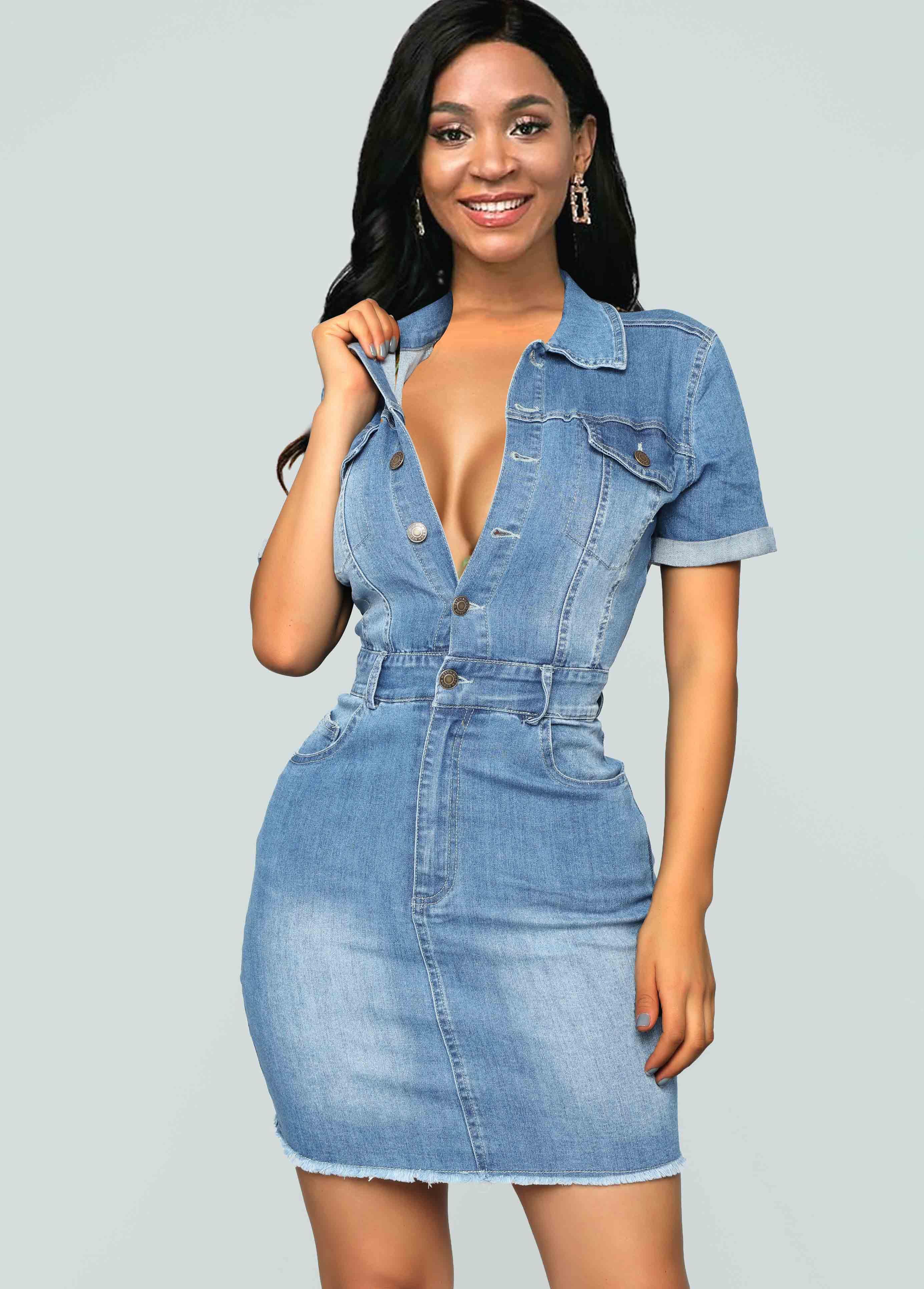 Side Pocket Button Front Turndown Collar Denim Dress