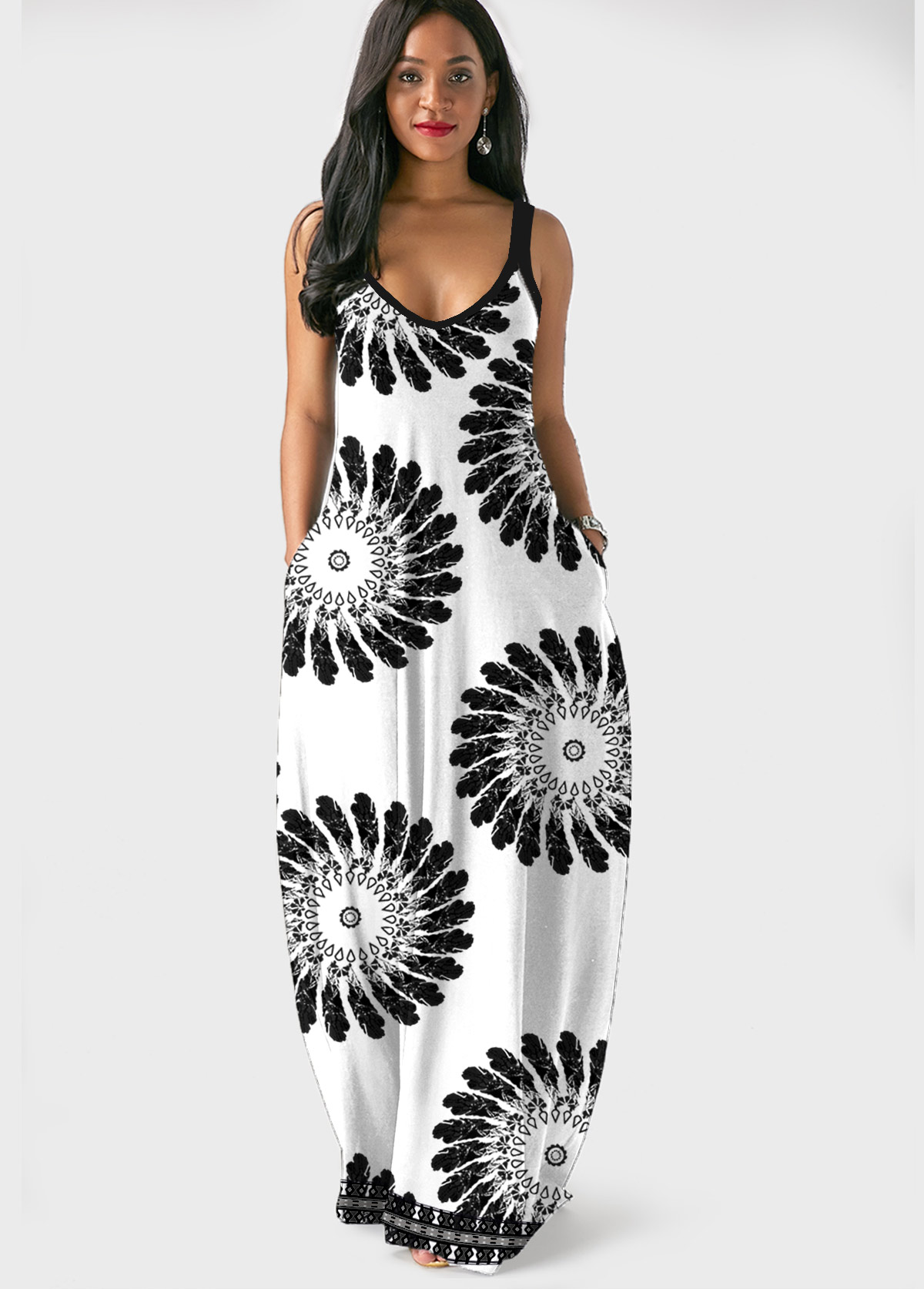 Mandala Print Side Pocket Spaghetti Strap Maxi Dress