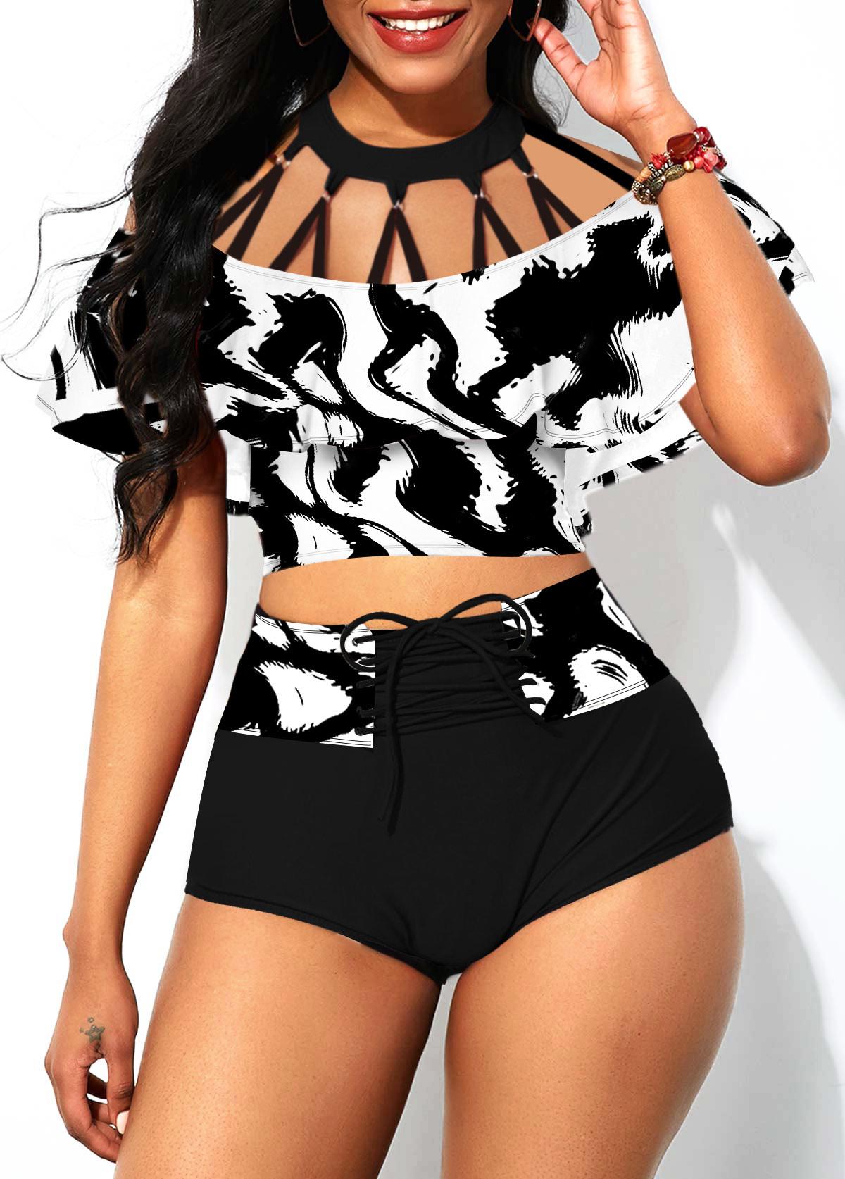ROTITA Lace Up High Waisted Foldover Front Bikini Set
