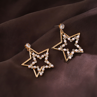 Star Shape Beads Embellished Gold Metal Earring Set