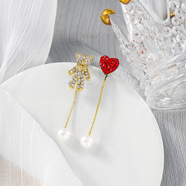 Bear and Heart Shape Pearl Embellished Earring Set