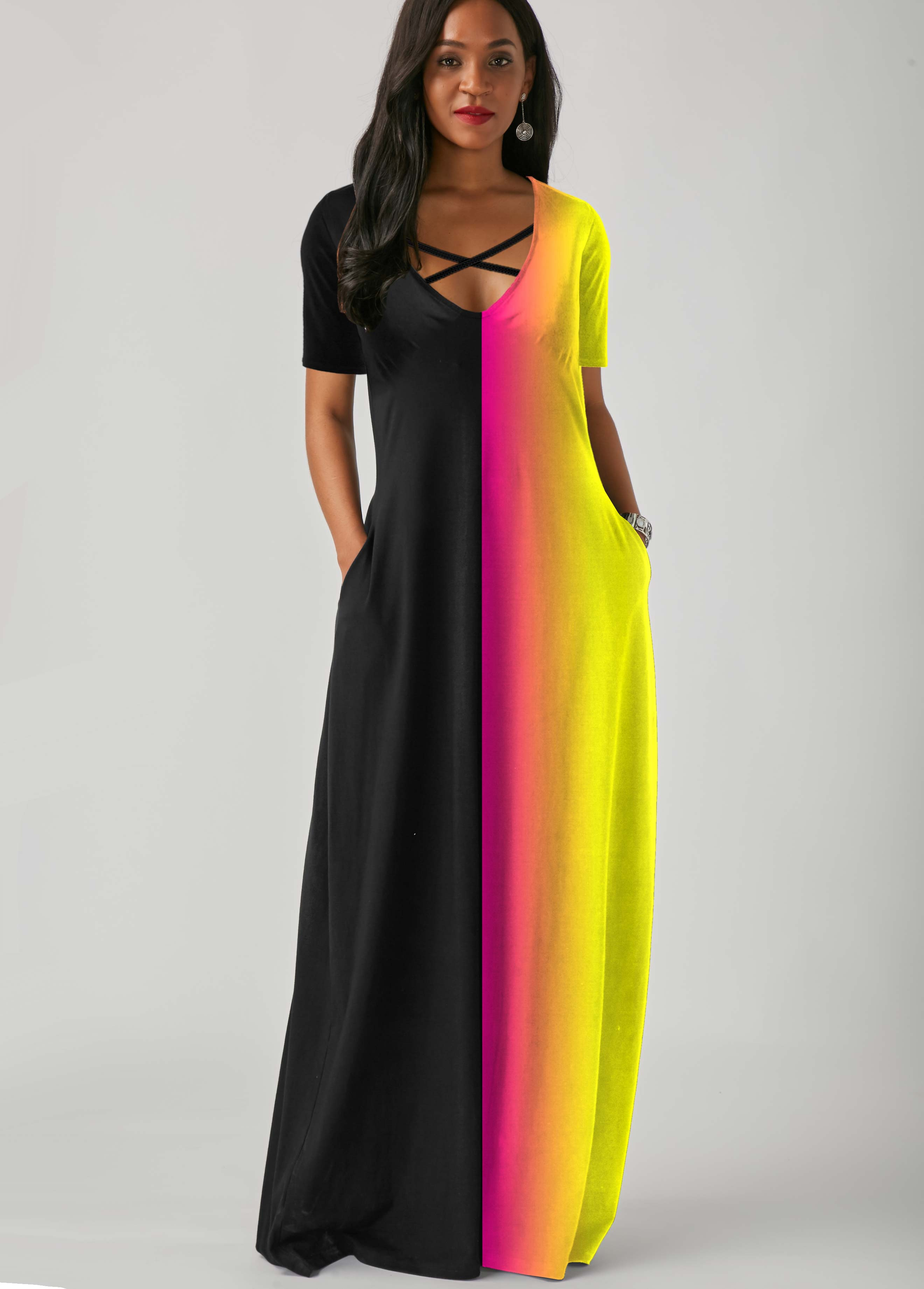ROTITA Side Pocket Rainbow Color Cross Strap Maxi Dress