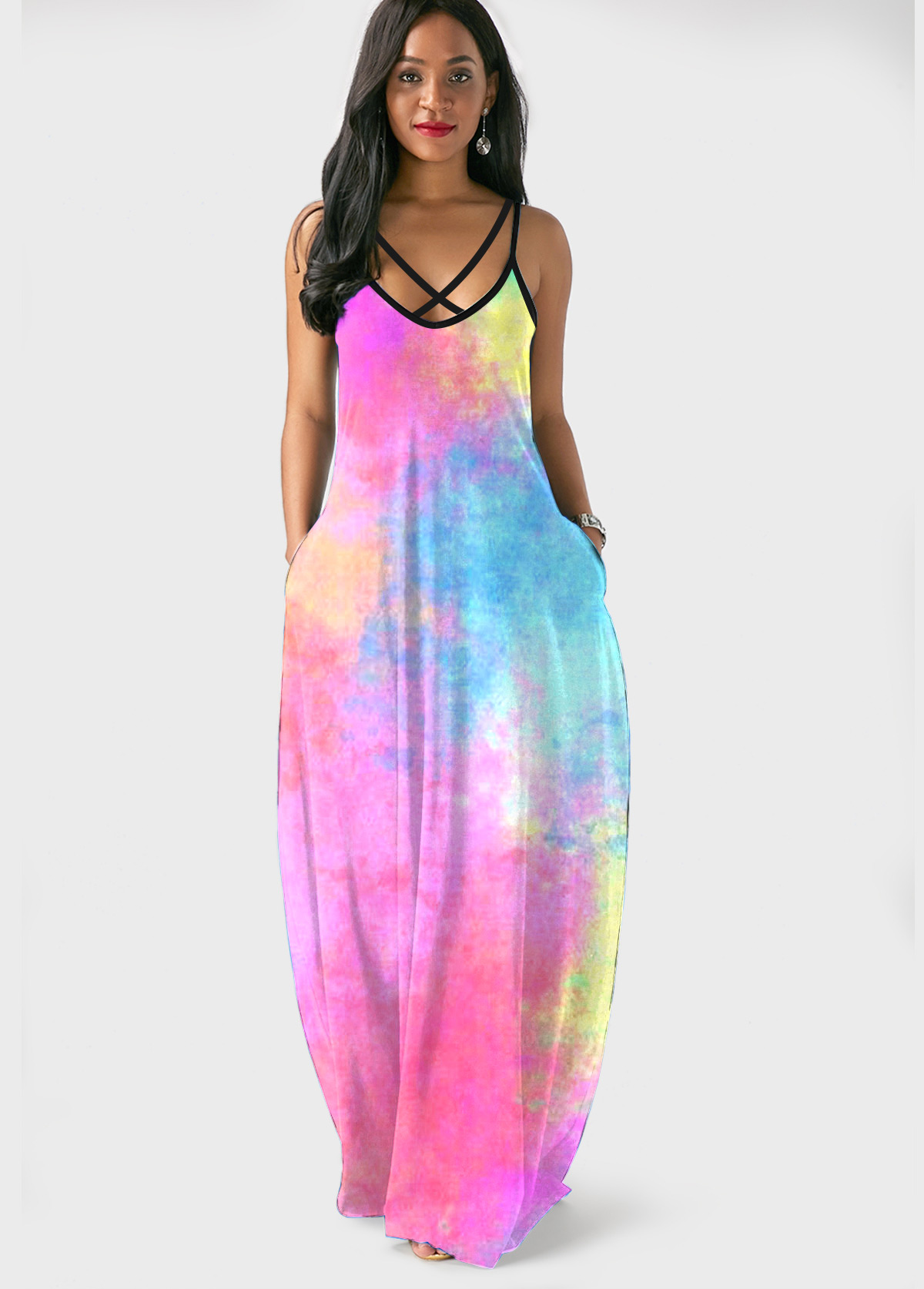 ROTITA Spaghetti Strap Tie Dye Side Pocket Maxi Dress
