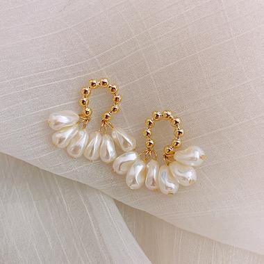 White Pearl Embellished Earring Set for Women