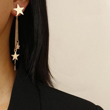Gold Metal Star Shape Earring Set
