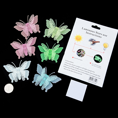 6 Pieces Luminous Butterfly Stickers