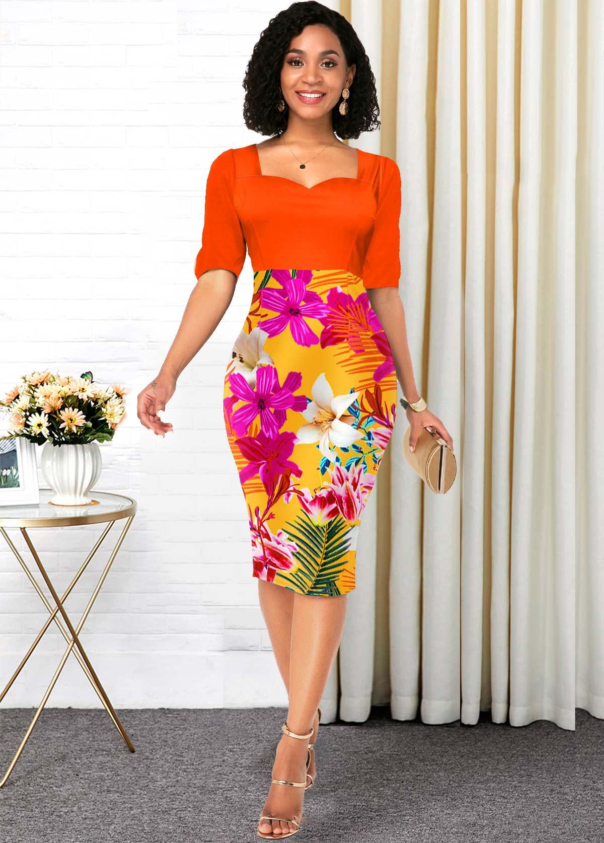 ROTITA Floral Print Half Sleeve Orange Contrast Dress