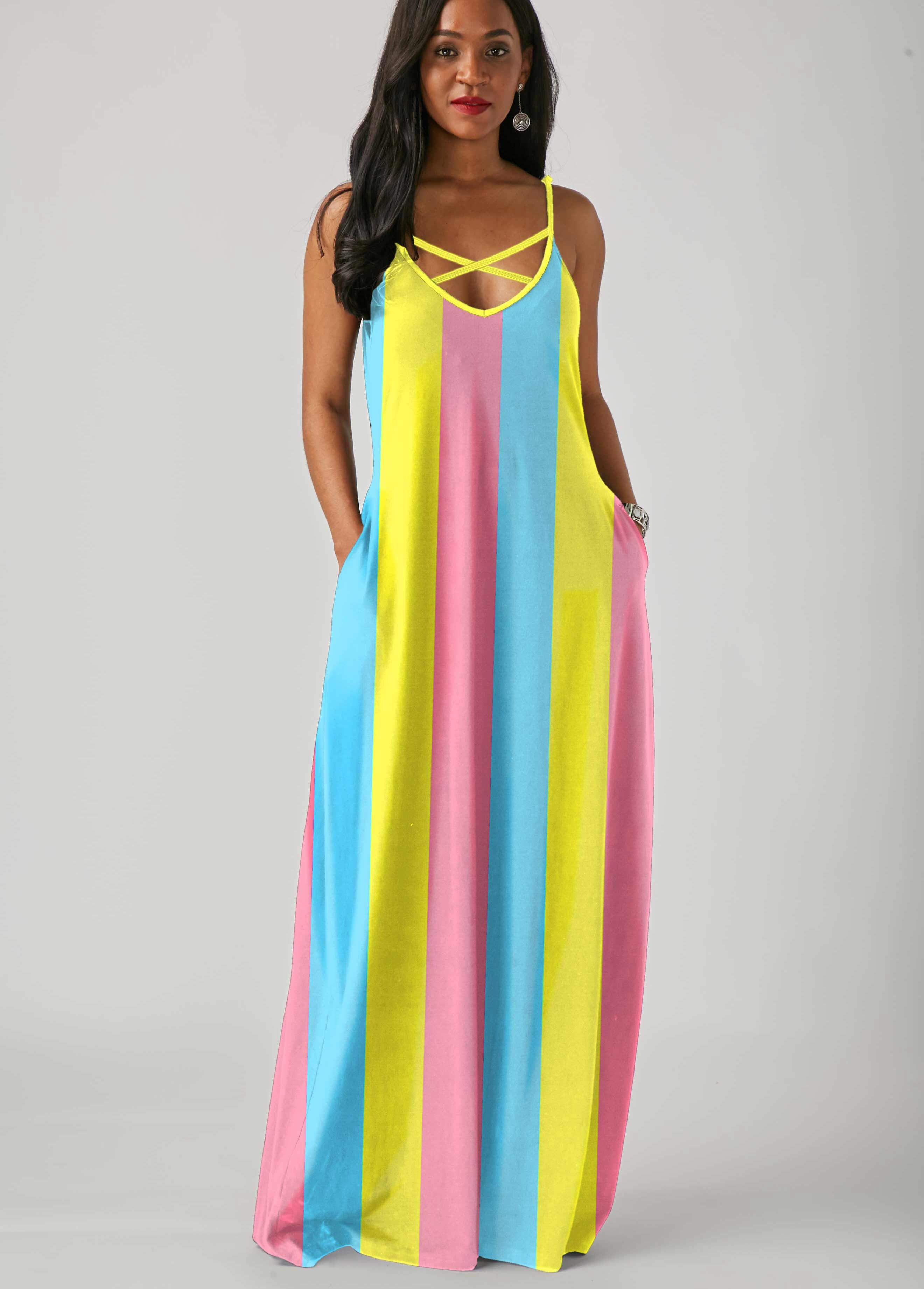 ROTITA Side Pocket Rainbow Stripe Spaghetti Strap Maxi Dress