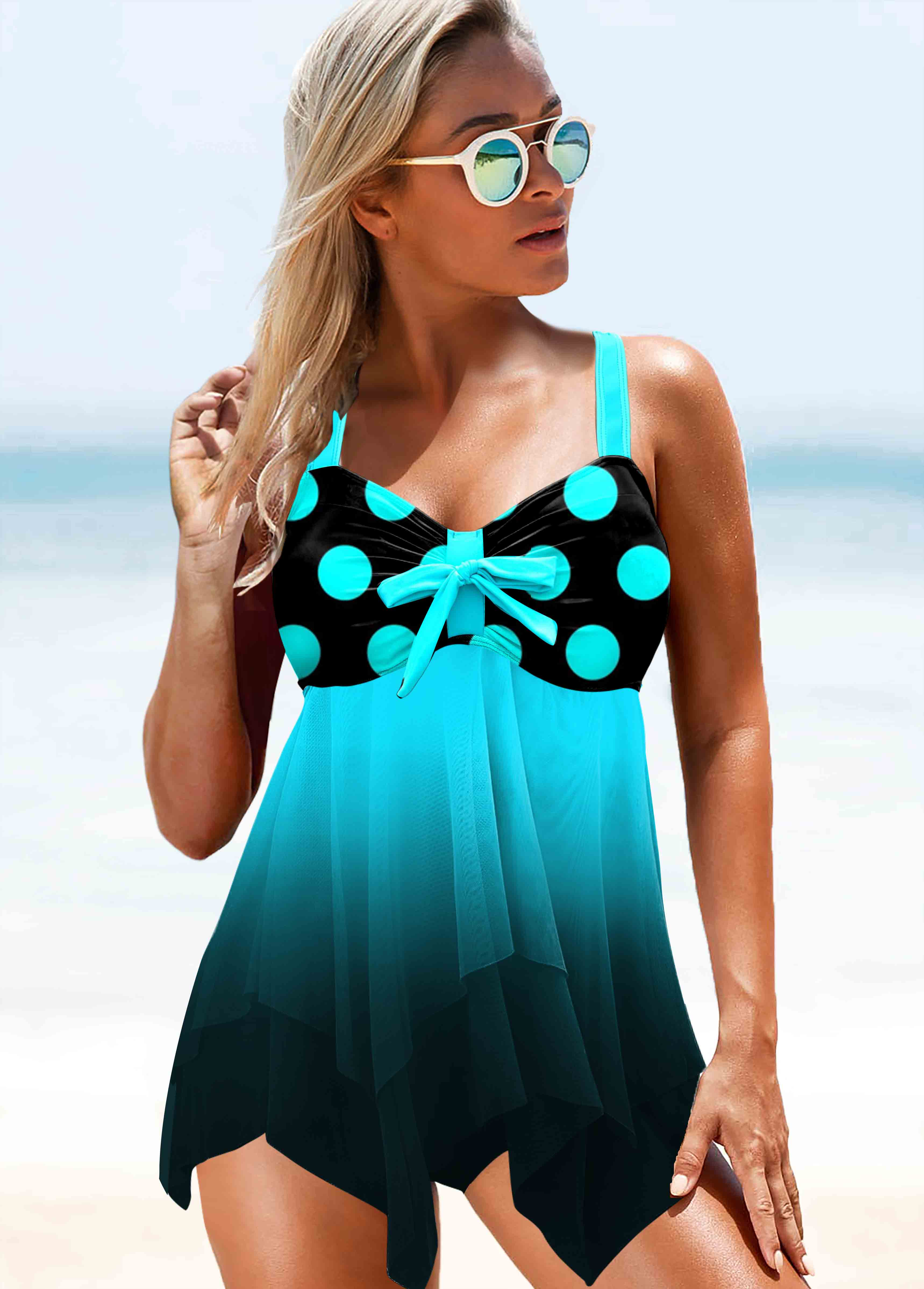 ROTITA Polka Dot Asymmetric Hem Mint Green Gradient Swimwear Top