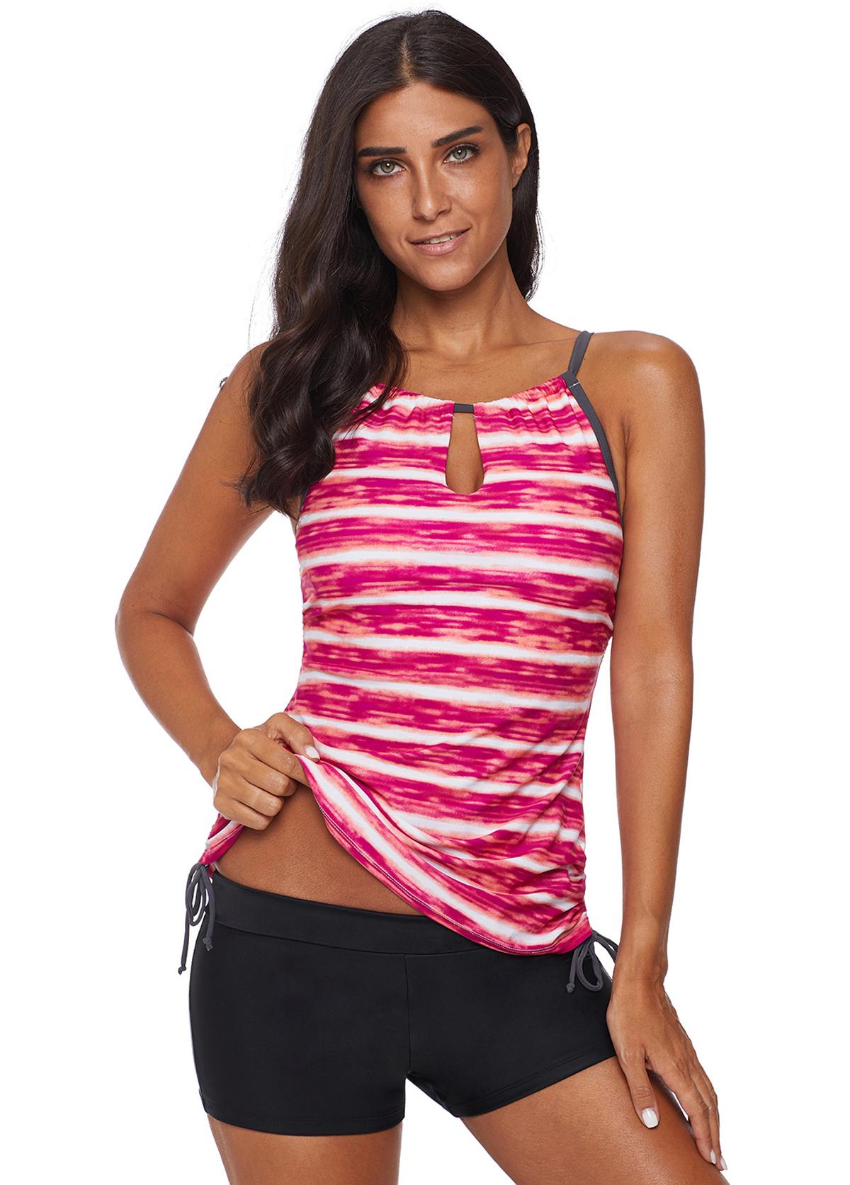 ROTITA Drawstring Waist Stripe Print Tankini Set
