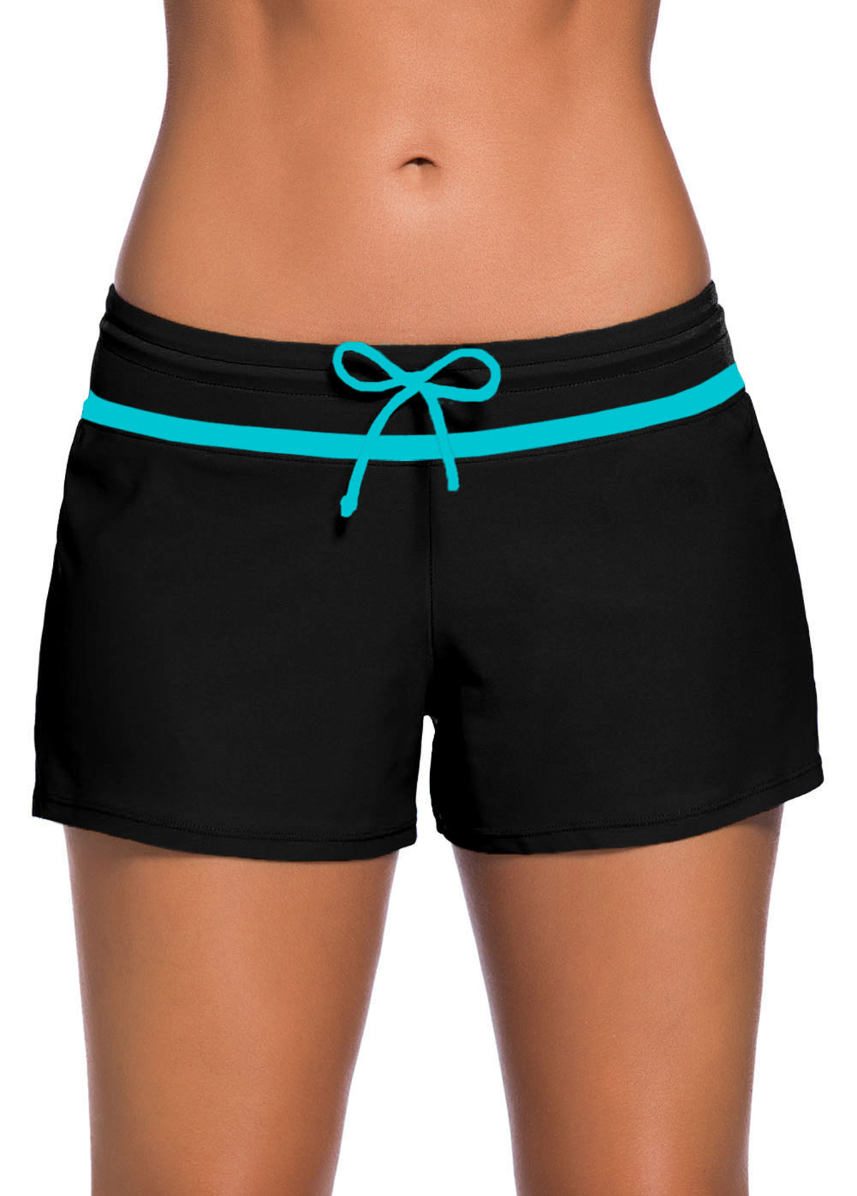 Contrast Piping Detail Bowknot Swimwear Shorts