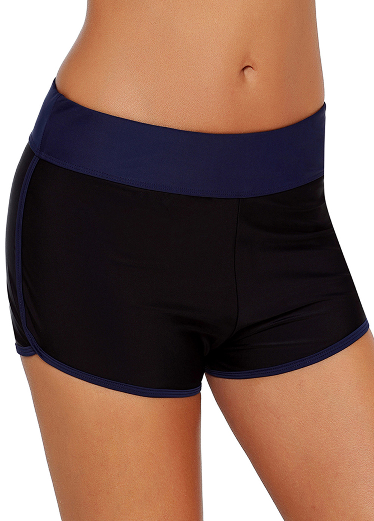 Contrast Waist Piping Mid Swimwear Shorts