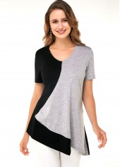 Asymmetric Hem Black Short Sleeve Soft T Shirt