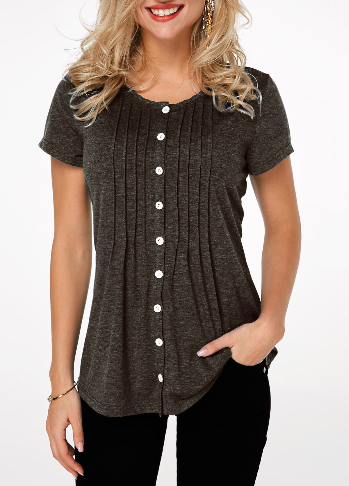 Pleated Button Up Short Sleeve T Shirt
