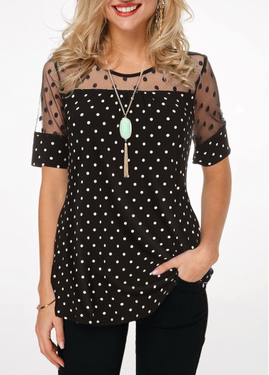 ROTITA Polka Dot Short Sleeve Lace Patchwork Blouse