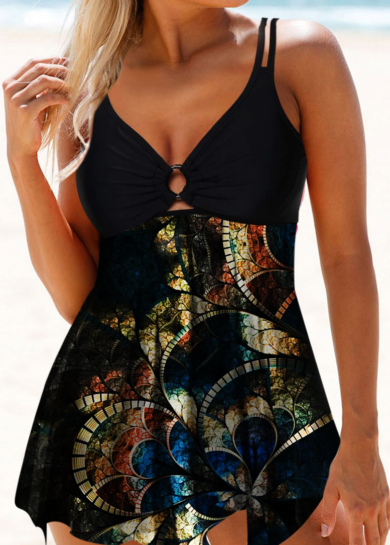 ROTITA Double Strap Psychedelic Print Ring Detail Swimdress and Panty