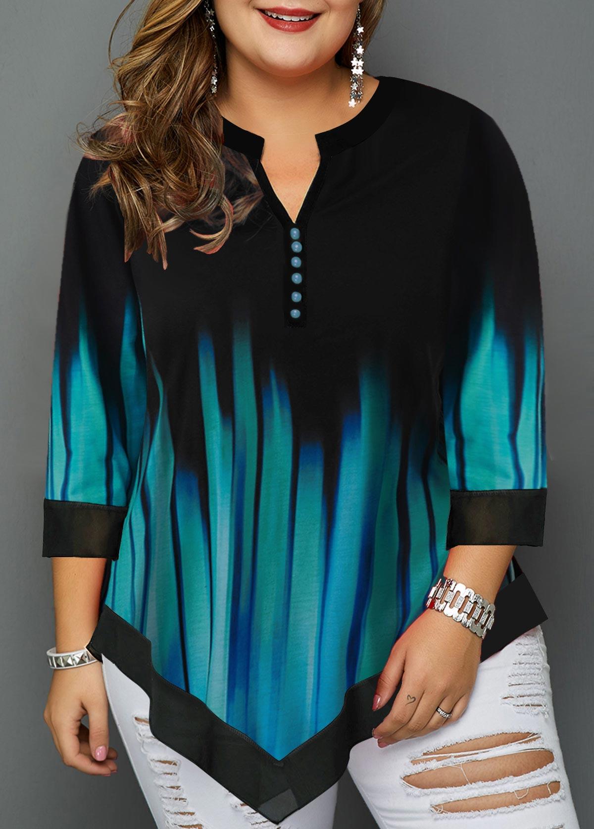 ROTITA Plus Size Split Neck Asymmetric Hem T Shirt