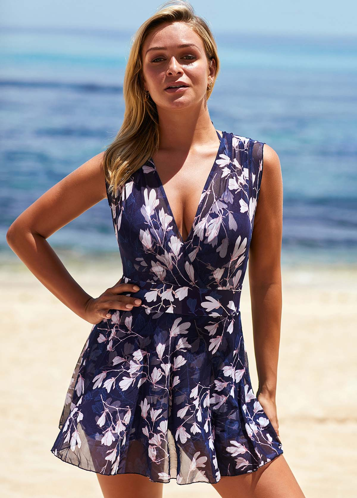 ROTITA V Neck Floral Print Wide Strap Swimdress and Panty