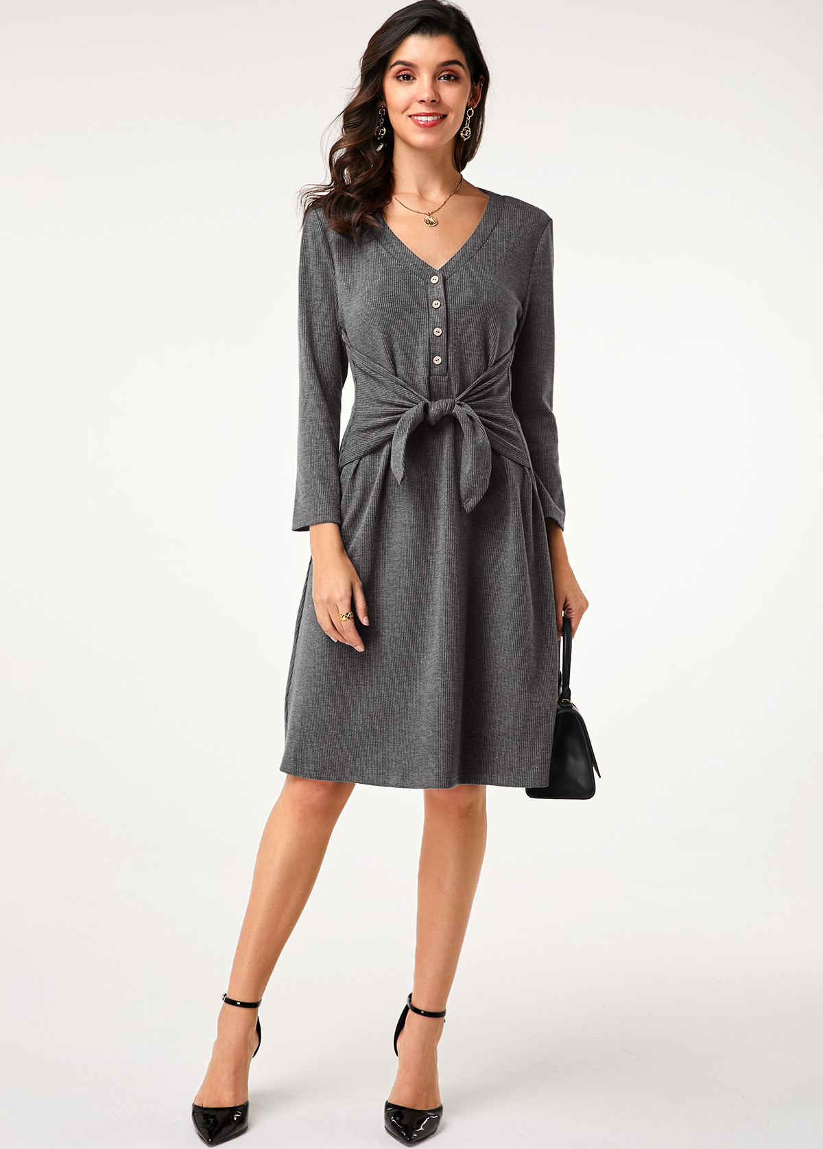 Button Detail Tie Front Grey Dress
