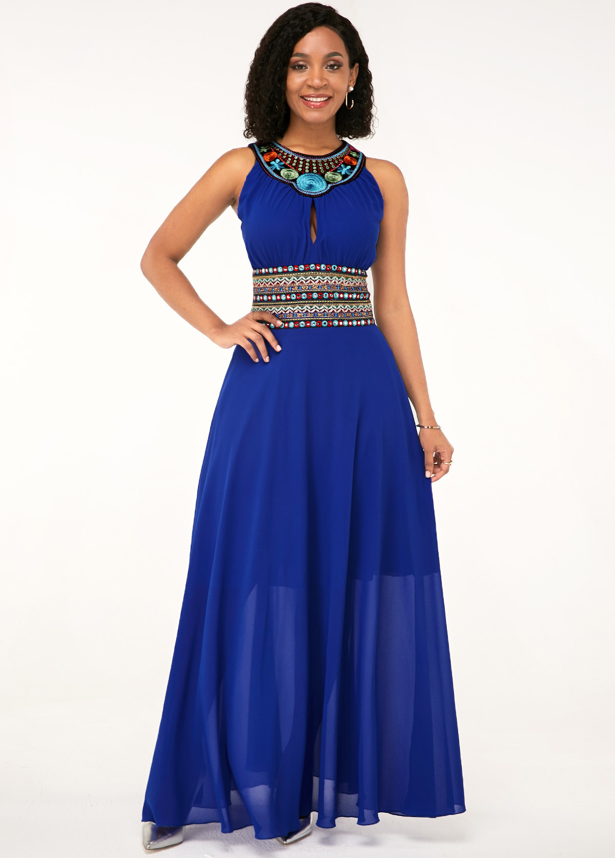ROTITA Royal Blue Tribal Print Sleeveless Maxi Chiffon Dress