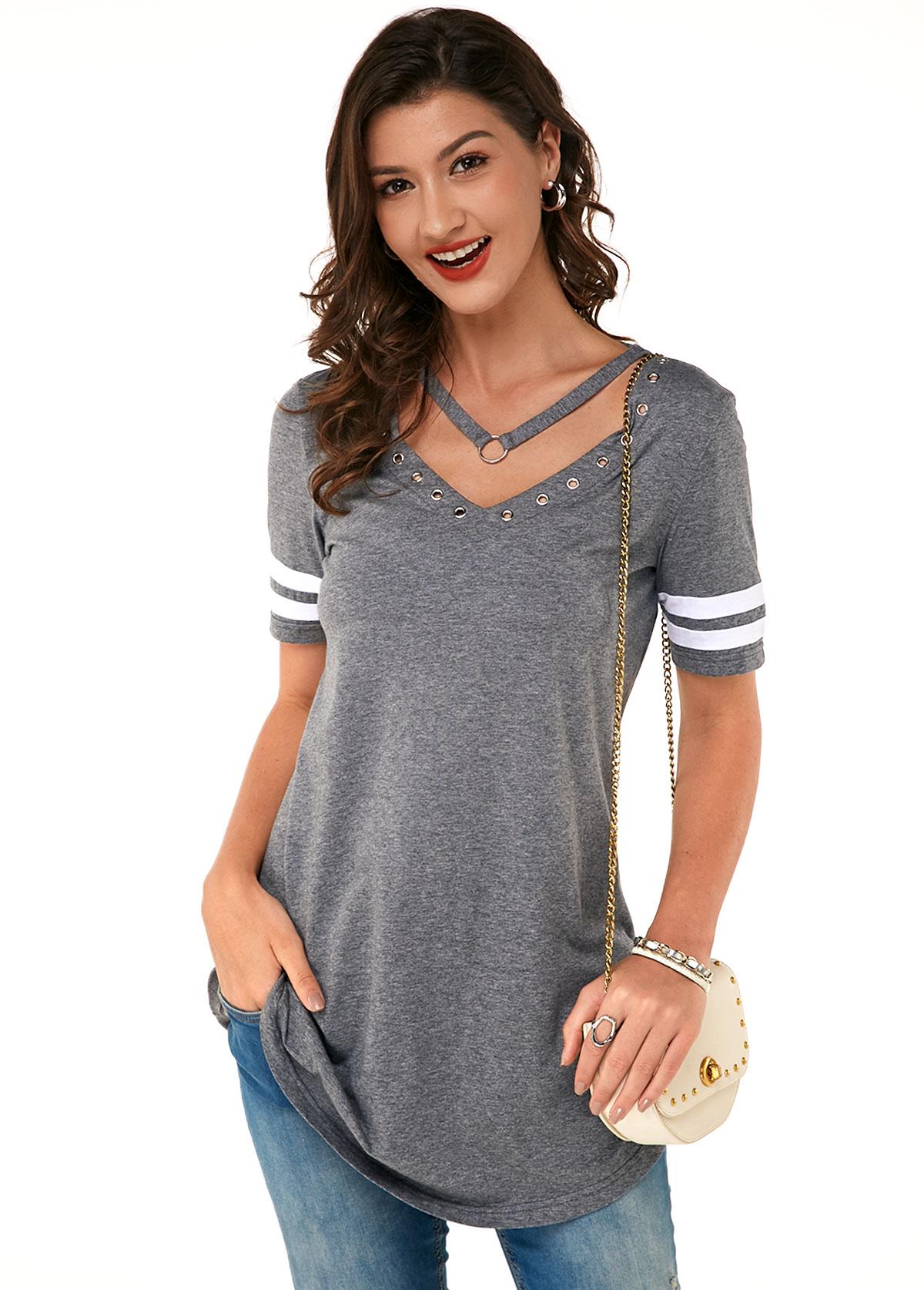 Grey Grommet Detail Short Sleeve Soft T Shirt