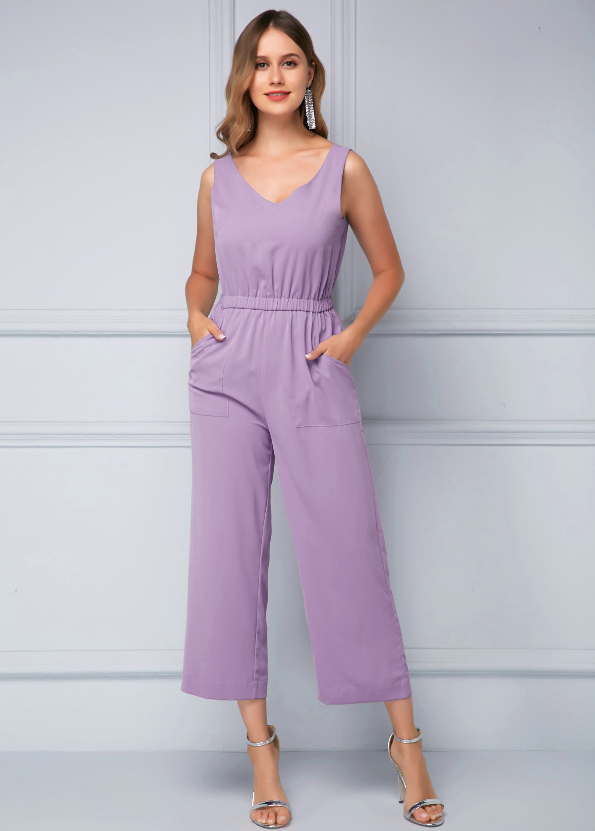 Soft Sleeveless Drawstring Waist Purple Jumpsuit