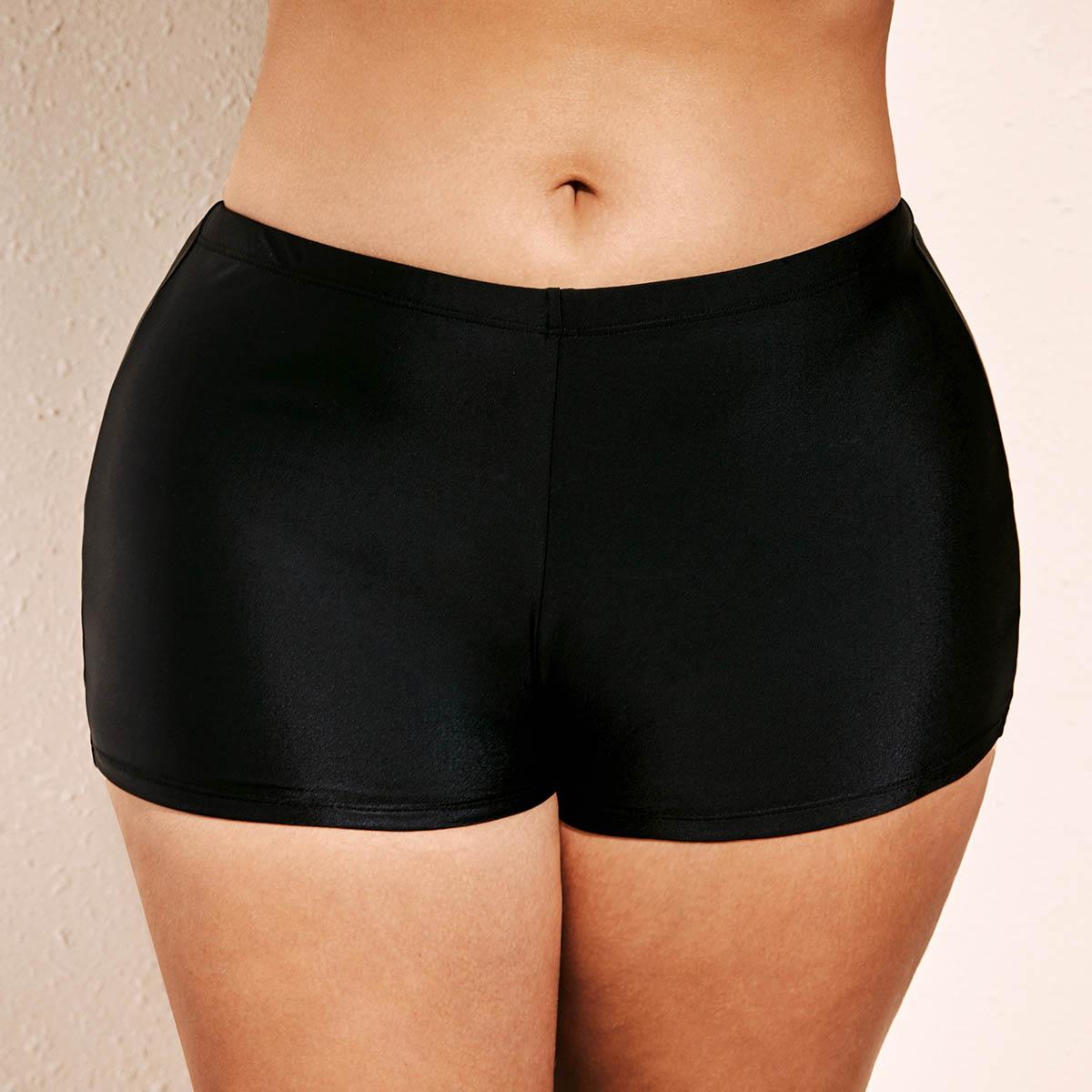 ROTITA Plus Size Black Mid Waist Swimwear Shorts