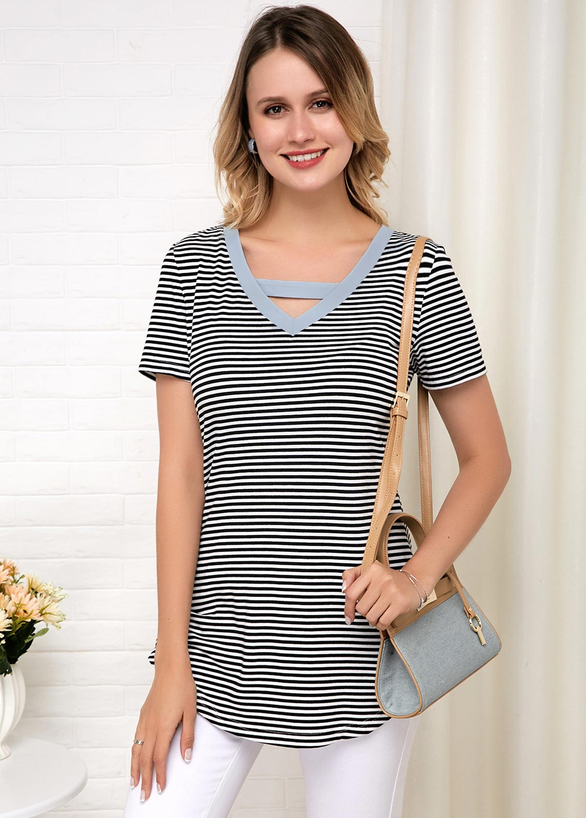 ROTITA Stripe Print Pierced Short Sleeve Soft T Shirt