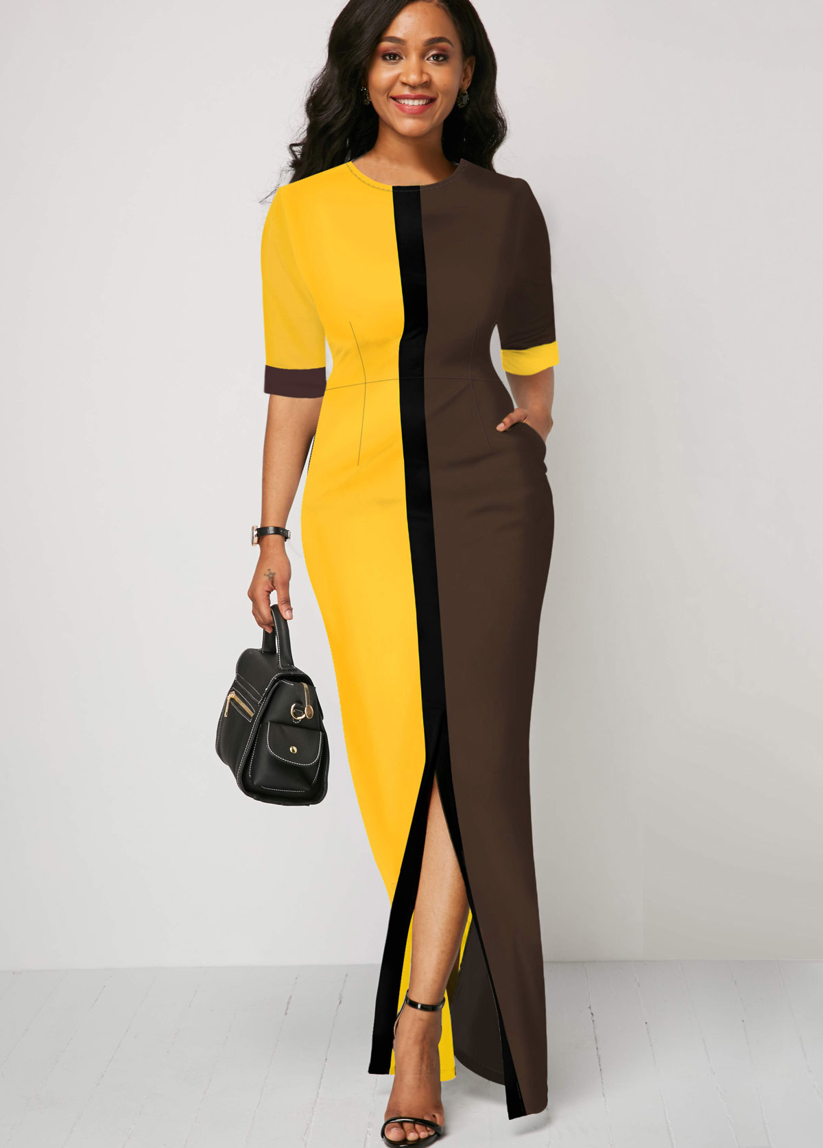 ROTITA Color Block Round Neck Half Sleeve Dress
