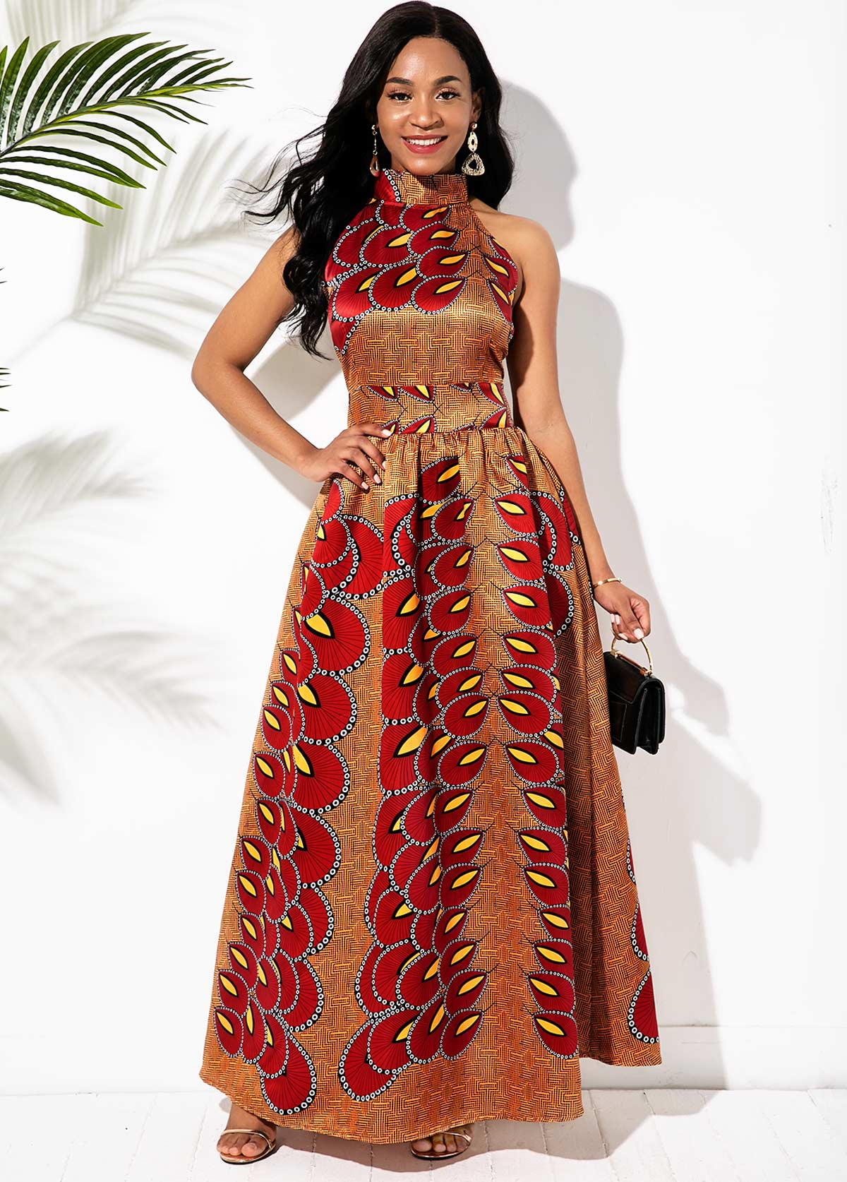 ROTITA Bowknot Back Bohemian Print Bib Neck Maxi Dress