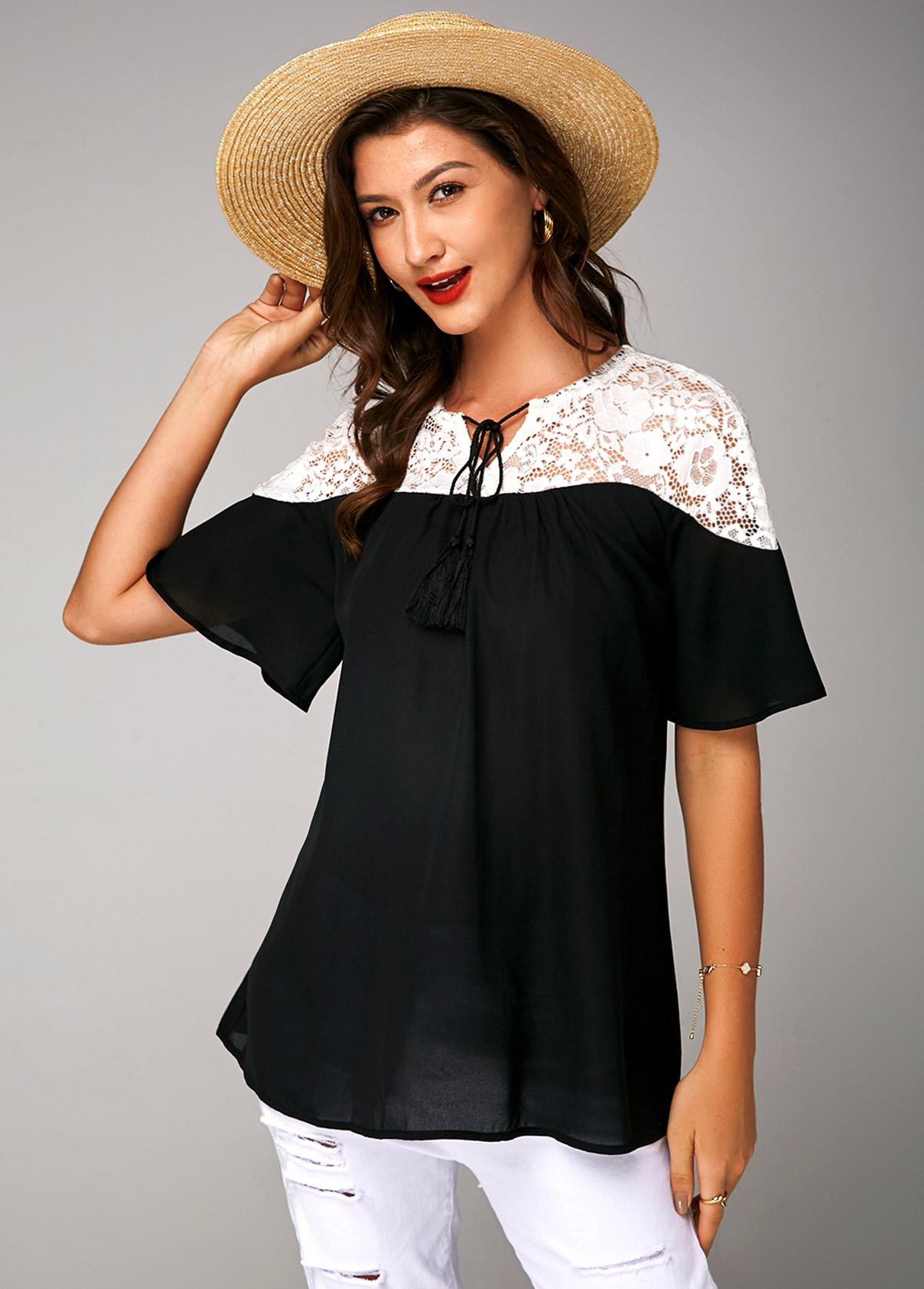 Short Sleeve Lace Panel Tie Neck Soft Blouse