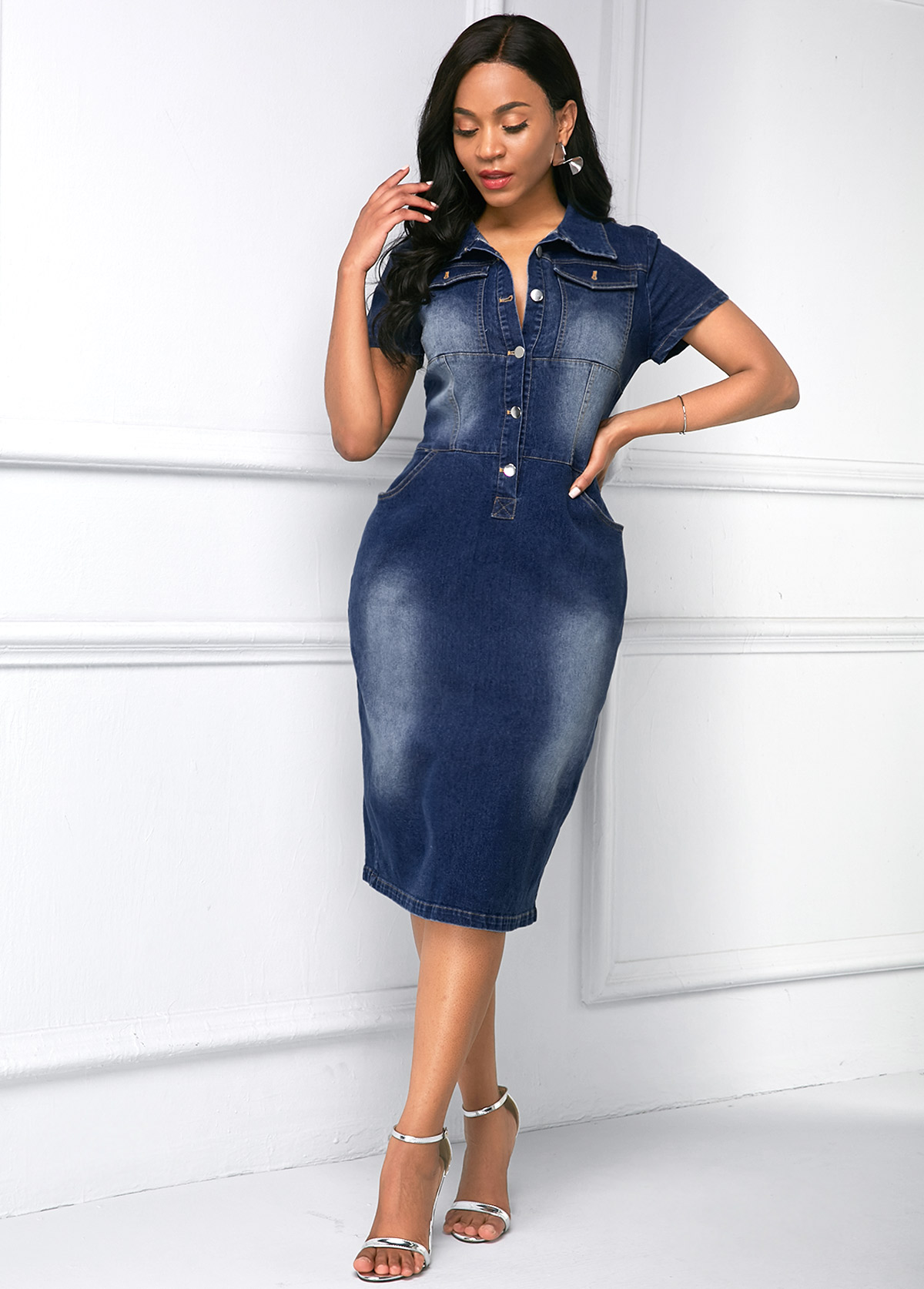 ROTITA Side Pocket Button Up Turndown Collar Denim Dress