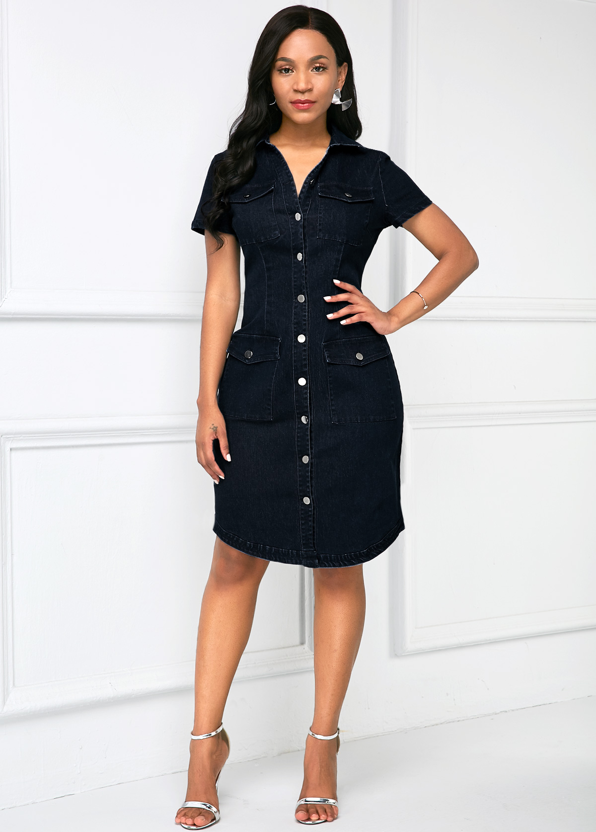 ROTITA Chest Pocket Button Up Denim Dress