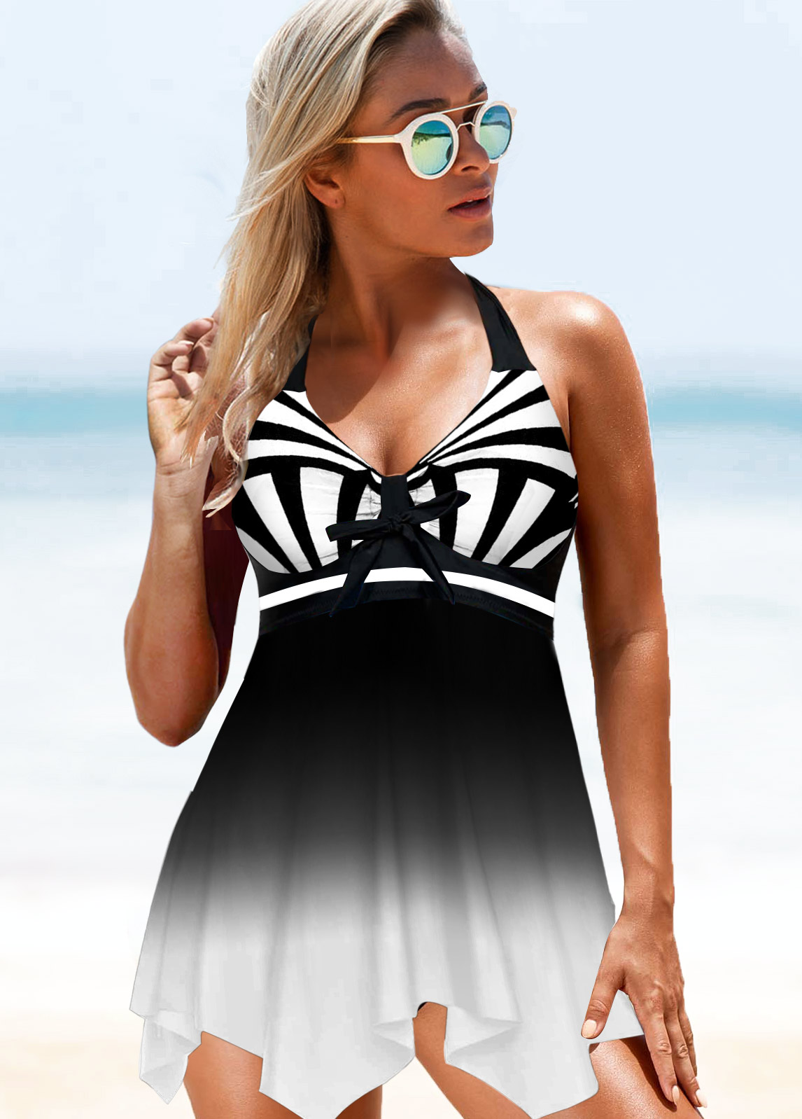 ROTITA Halter Asymmetric Hem Black Swimdress and Panty