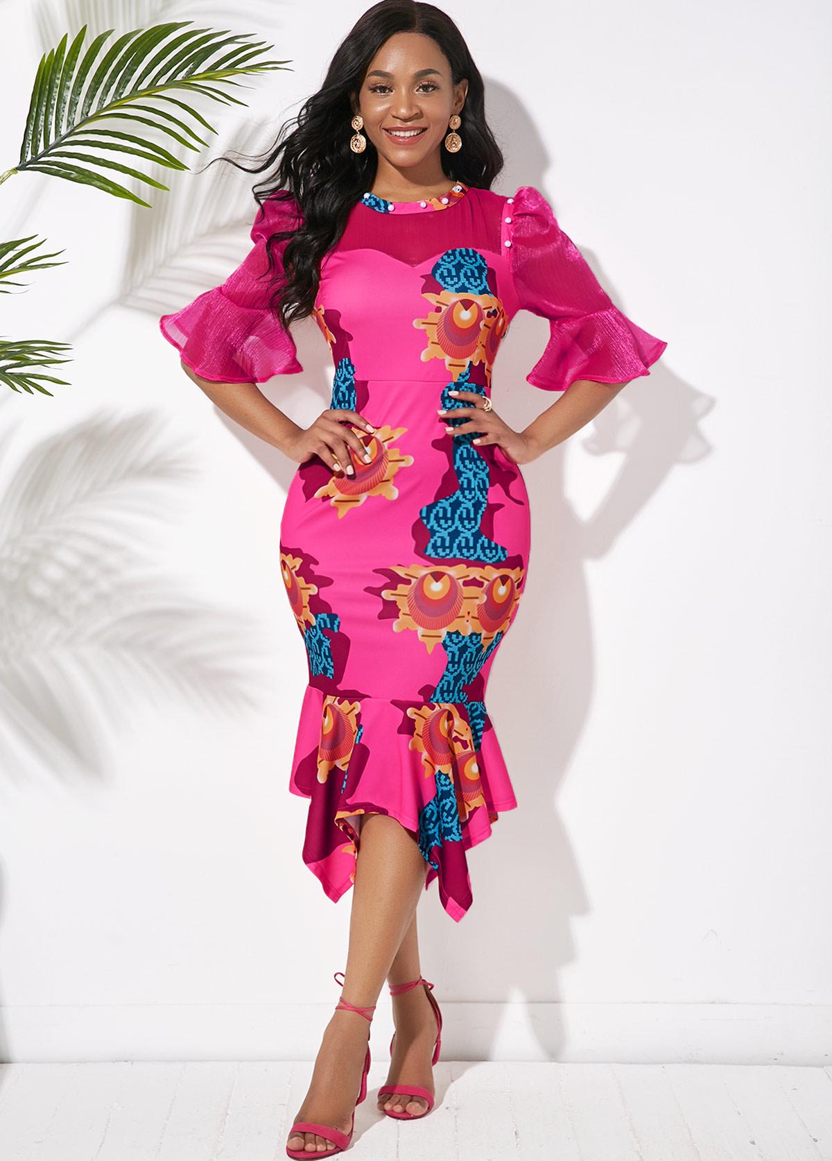 ROTITA Asymmetric Hem Puff Sleeve Printed Dress