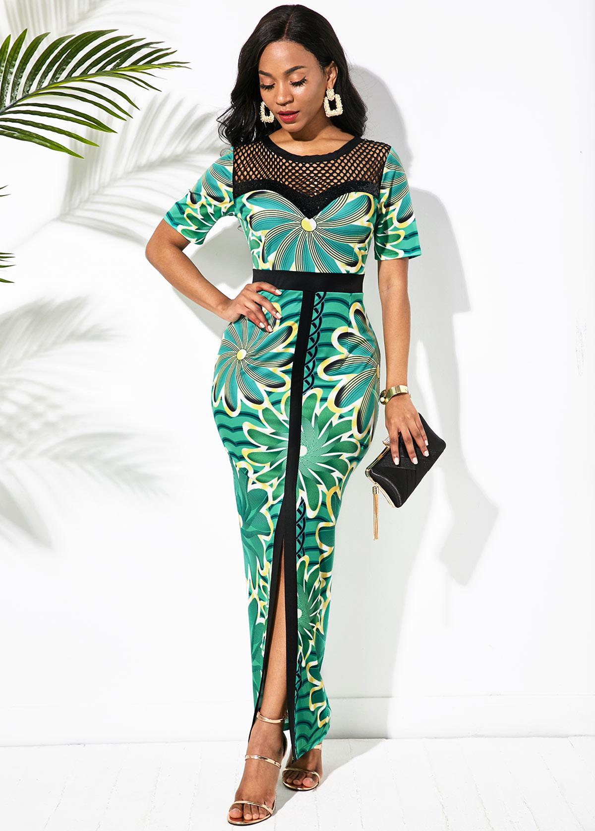ROTITA Front Slit Mesh Panel Printed Maxi Dress