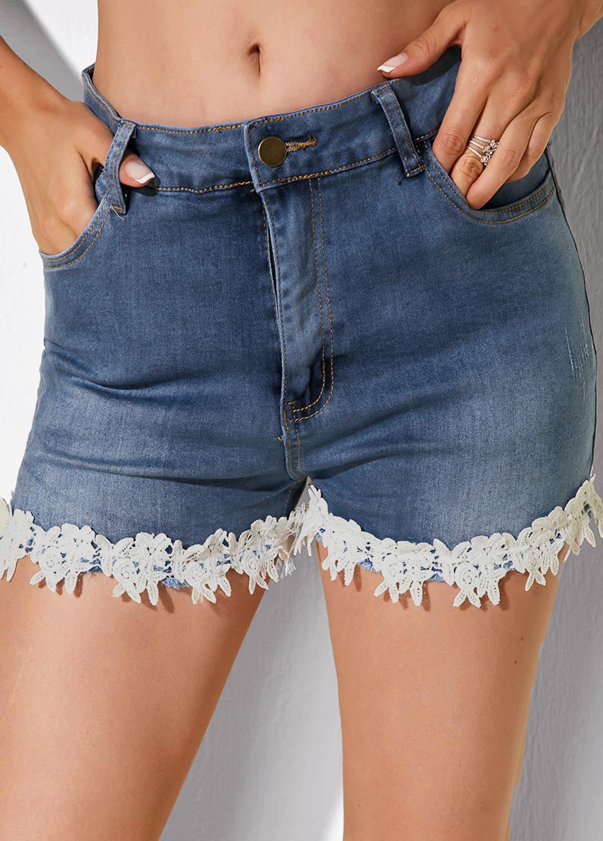 ROTITA Slant Pocket Lace Trim Denim Shorts