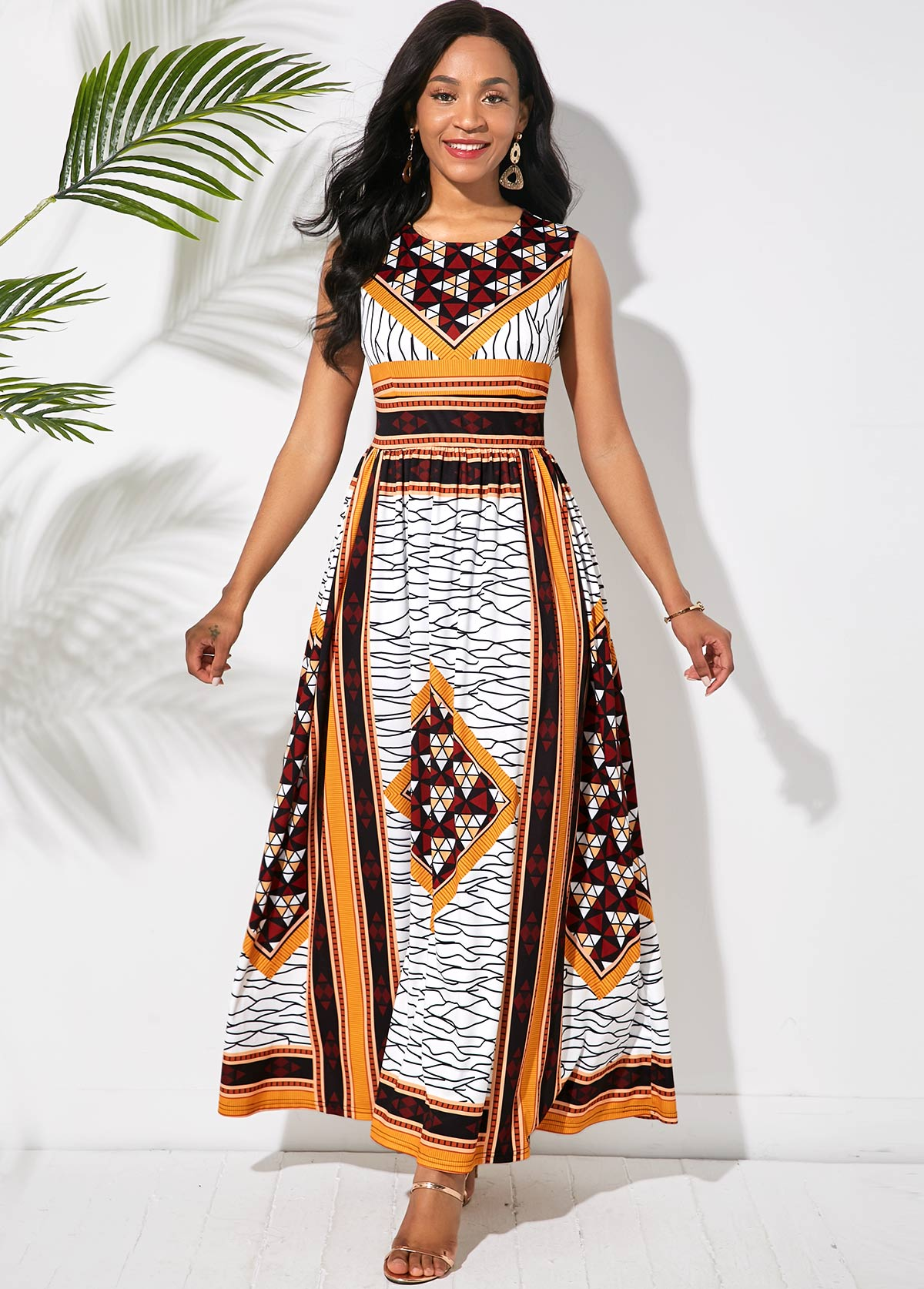 ROTITA Tribal Print Sleeveless Round Neck Maxi Dress