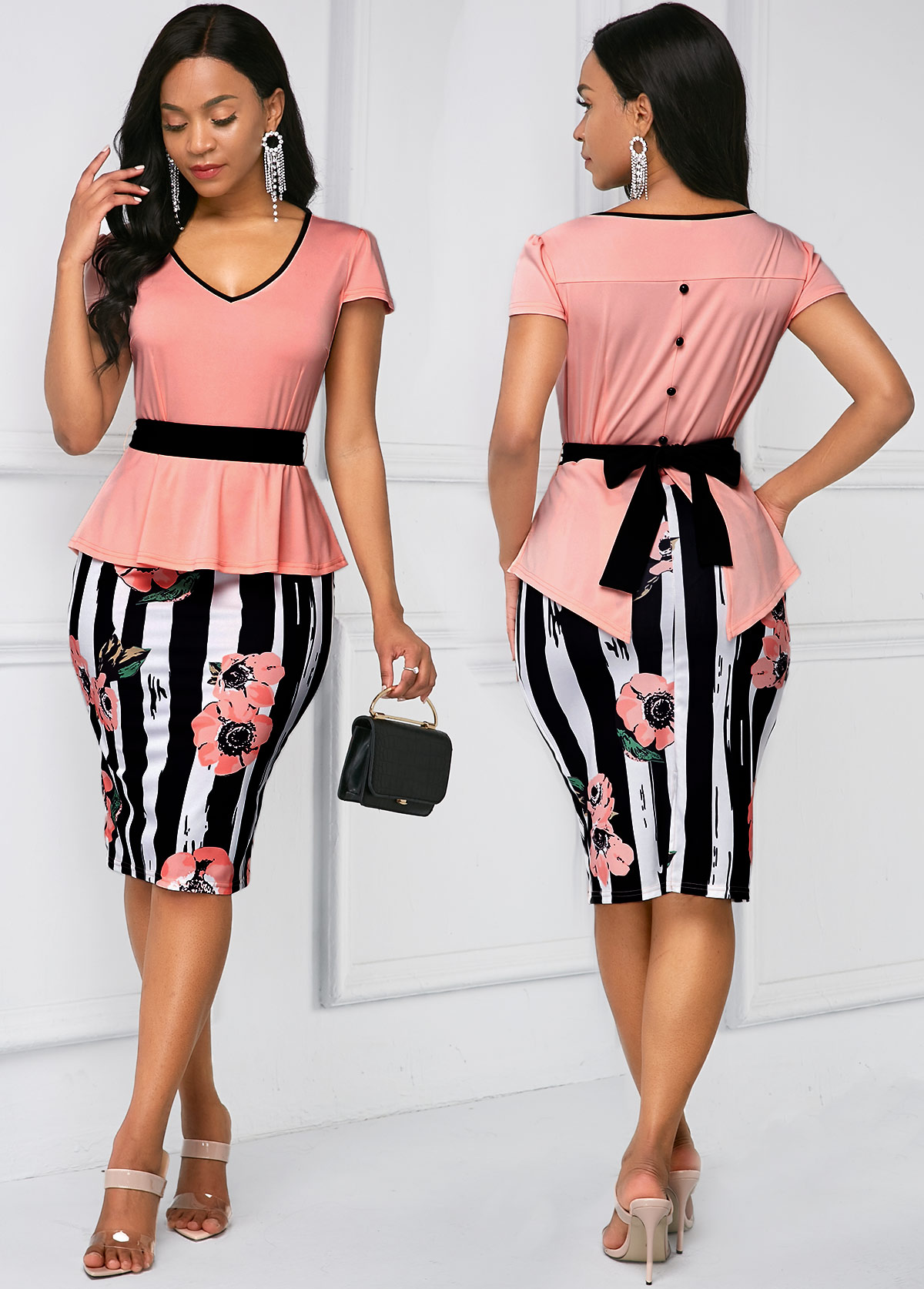 ROTITA Belted Stripe Print Cap Sleeve Dress