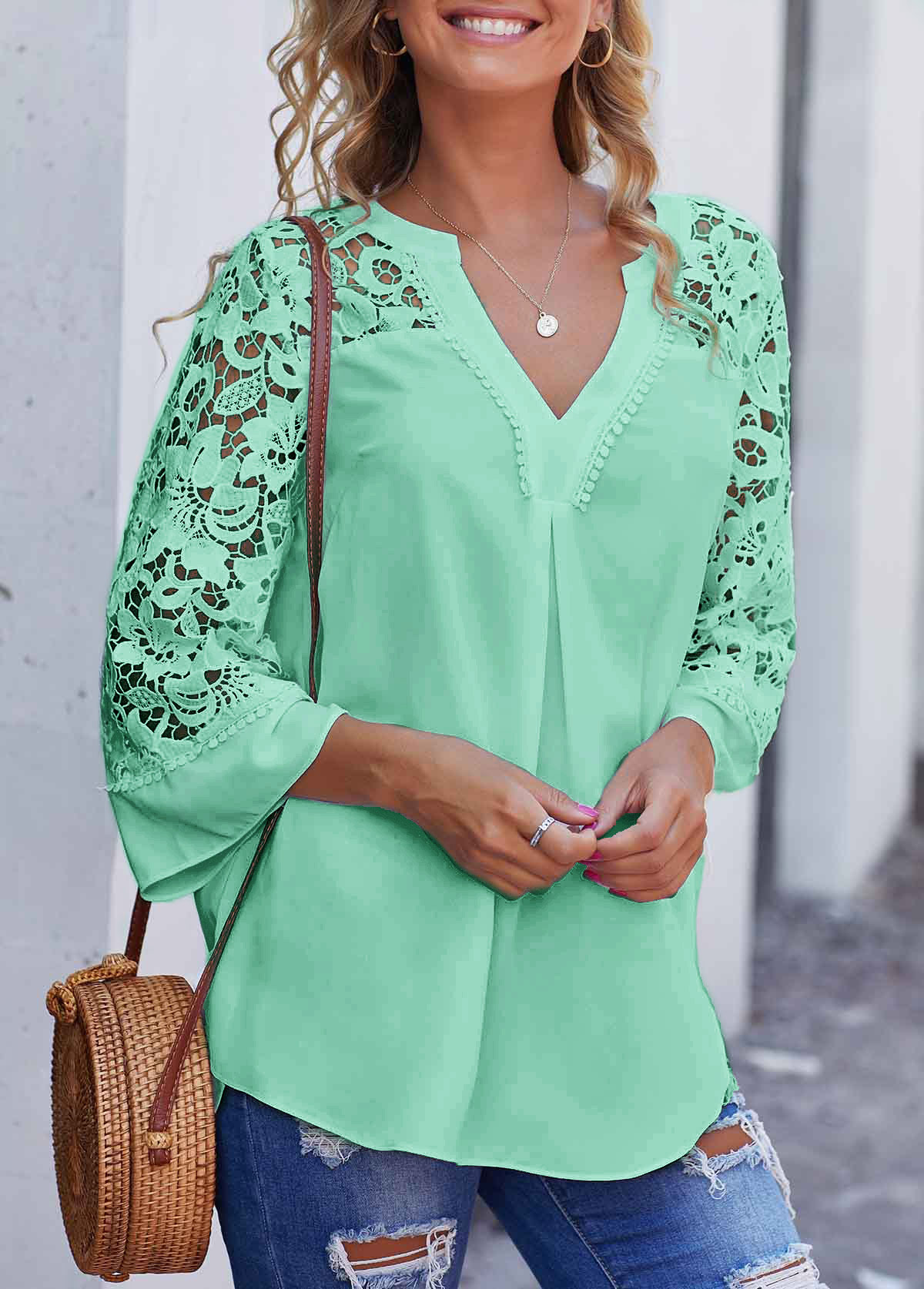 ROTITA Mint Green Lace Stitching Split Neck Blouse