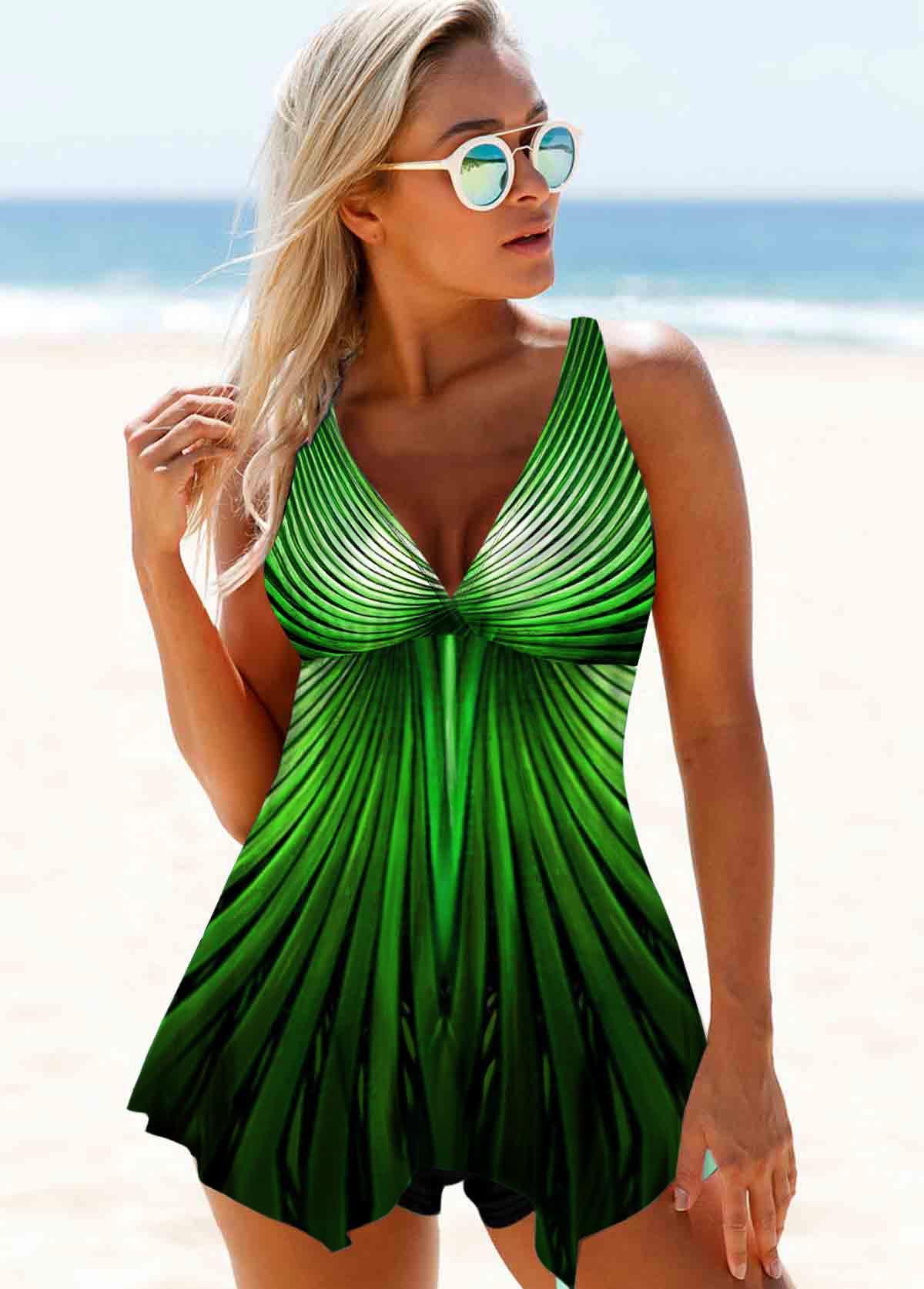 ROTITA Green Printed Wide Strap Swimdress and Shorts