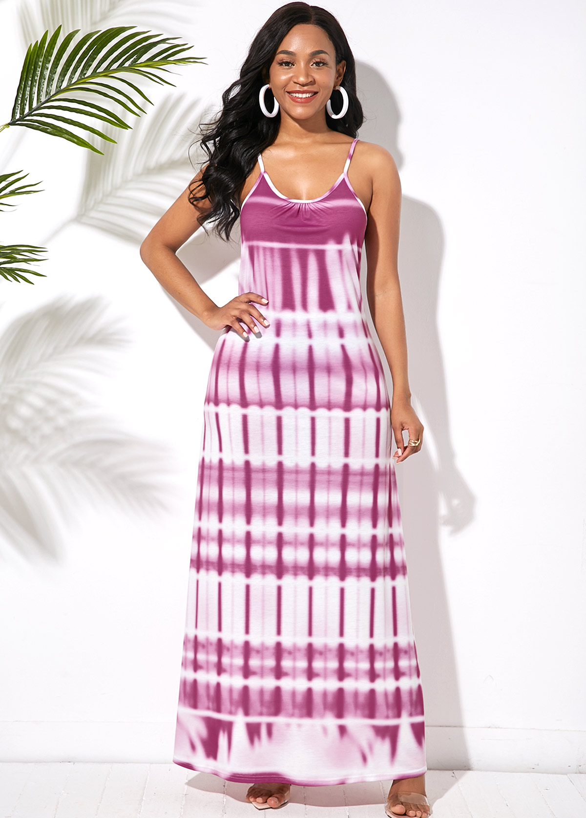 ROTITA Ladder Cutout Back Printed Spaghetti Strap Maxi Dress