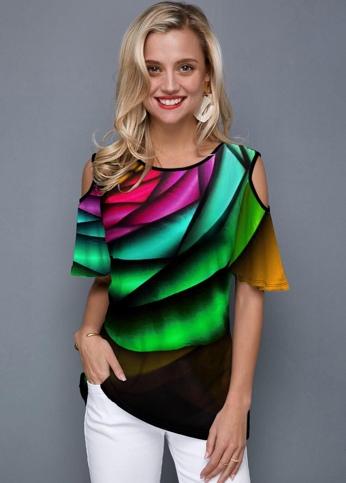 ROTITA Printed Rainbow Color Cold Shoulder T Shirt