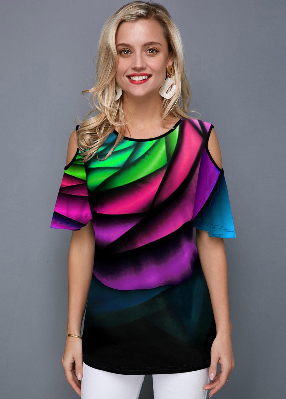 ROTITA Printed Purple Cold Shoulder T Shirt