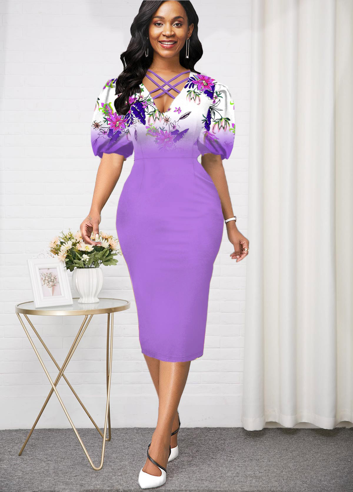 ROTITA Puff Sleeve lilac Purple High Waist Dress