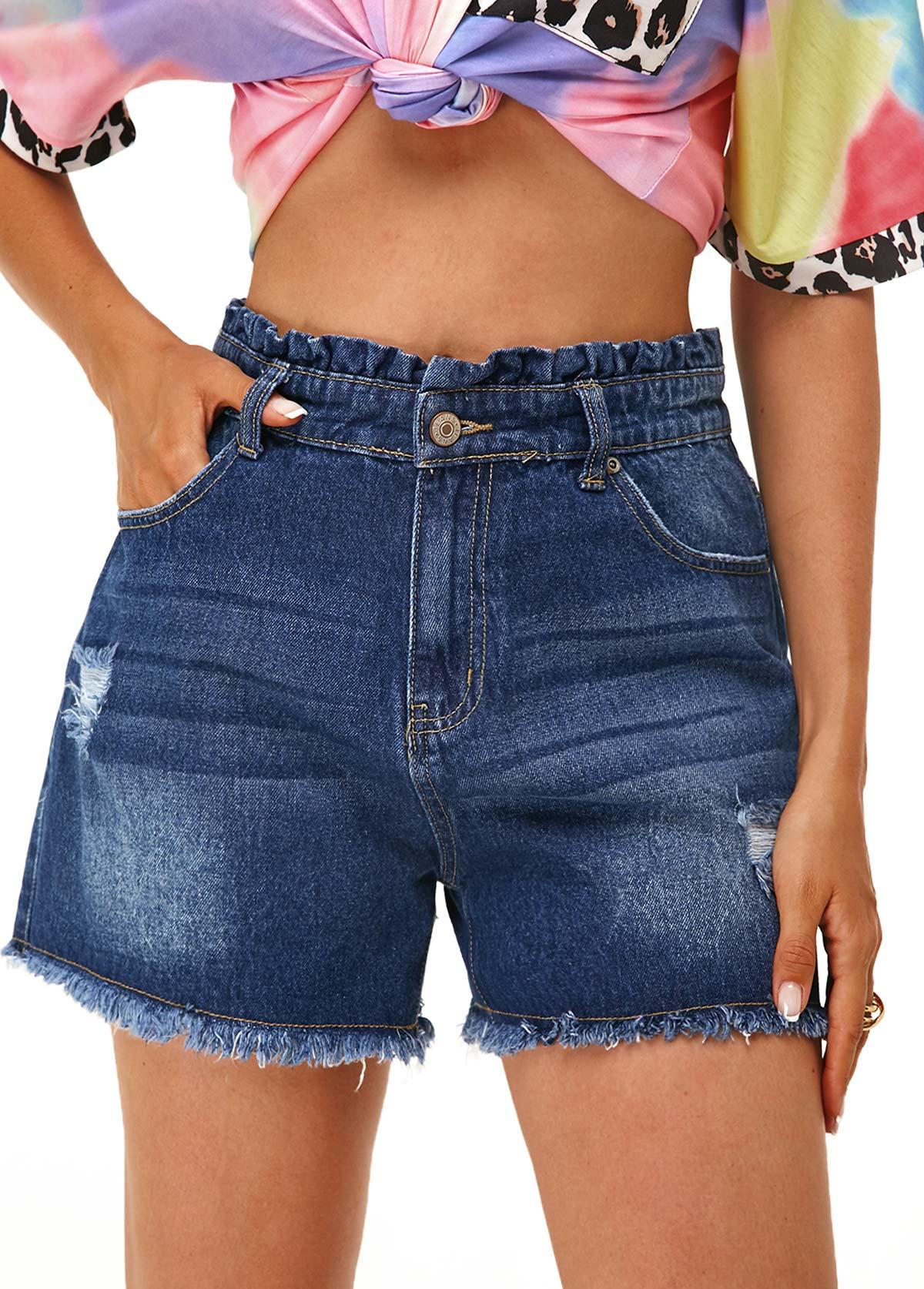Slant Pocket Stringy Selvedge Frayed Hem Denim Shorts