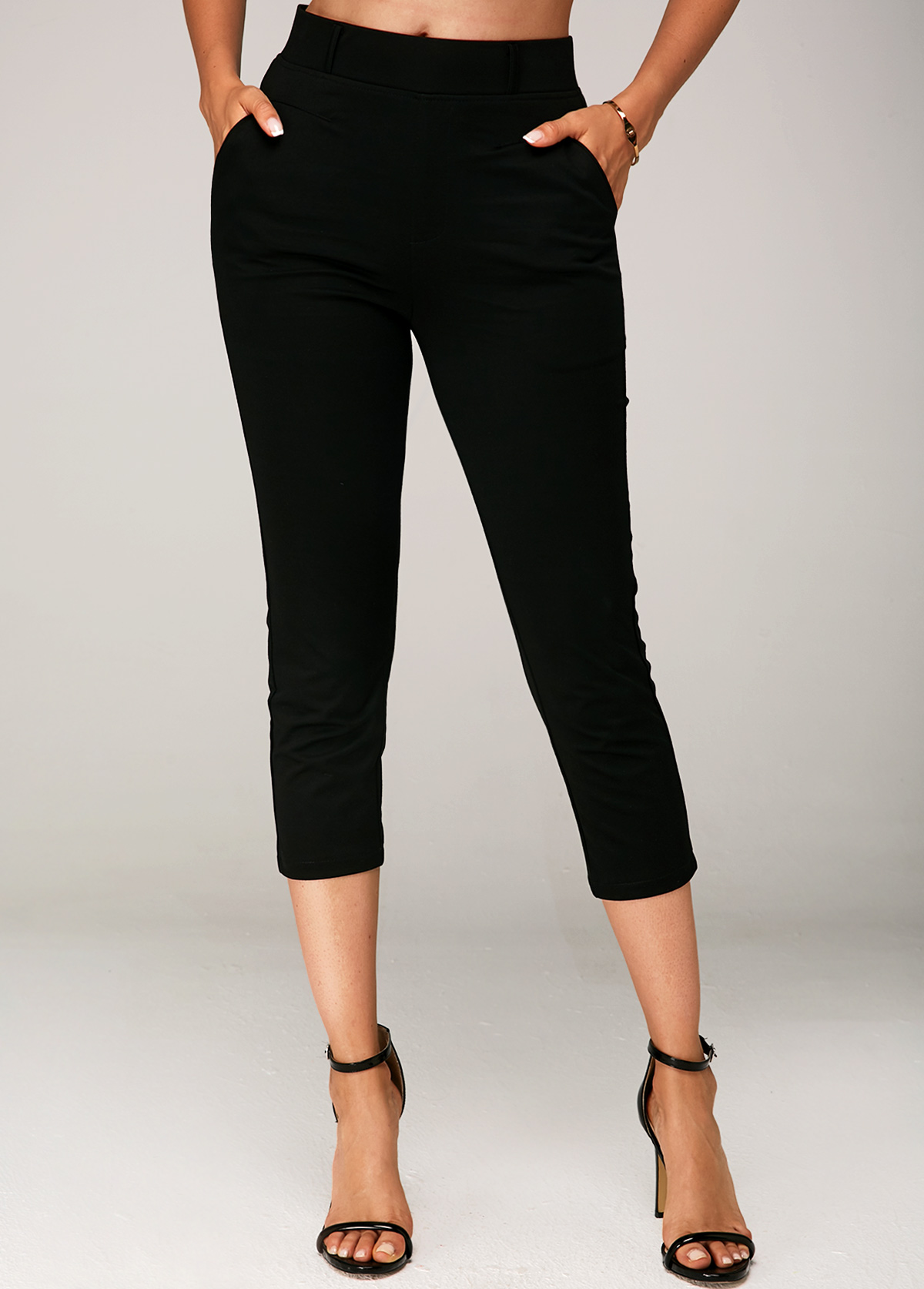ROTITA Side Pocket Elastic Waist Black Crop Pants