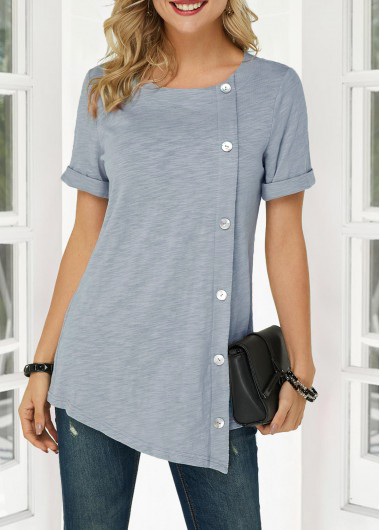 ROTITA Inclined Button Short Sleeve Asymmetric Hem T Shirt