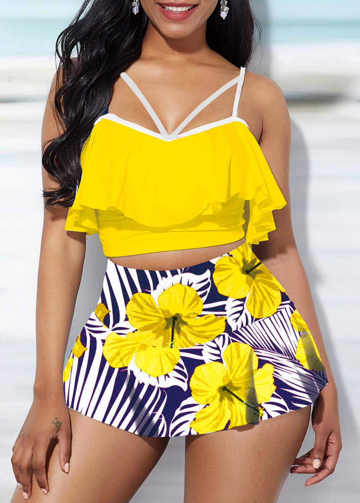 ROTITA Spaghetti Strap Swimwear Top and Floral Print High Waisted Pantskirt